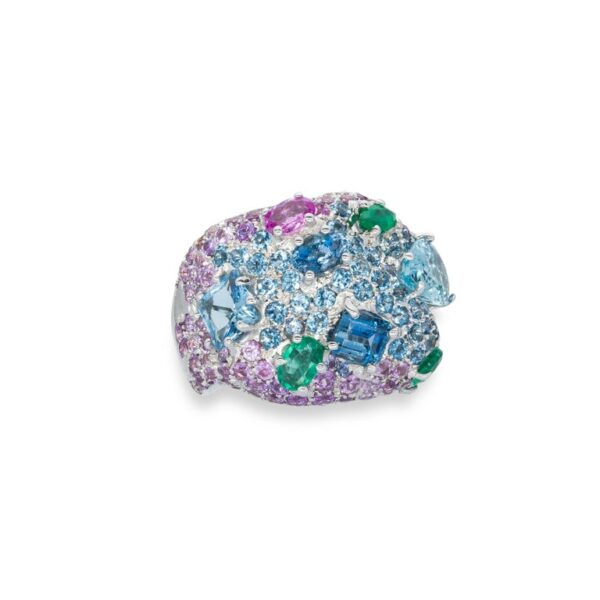 d'Avossa Ring in 18kt white gold with Emeralds, Aquamarines and Sapphires (3)