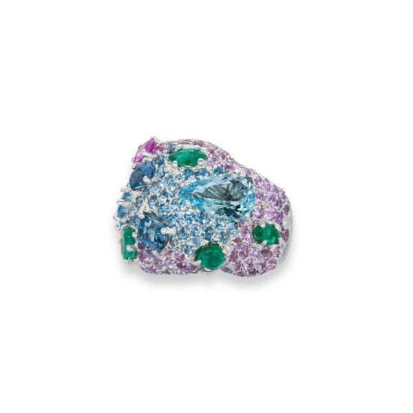 d'Avossa Ring in 18kt white gold with Emeralds, Aquamarines and Sapphires (4)