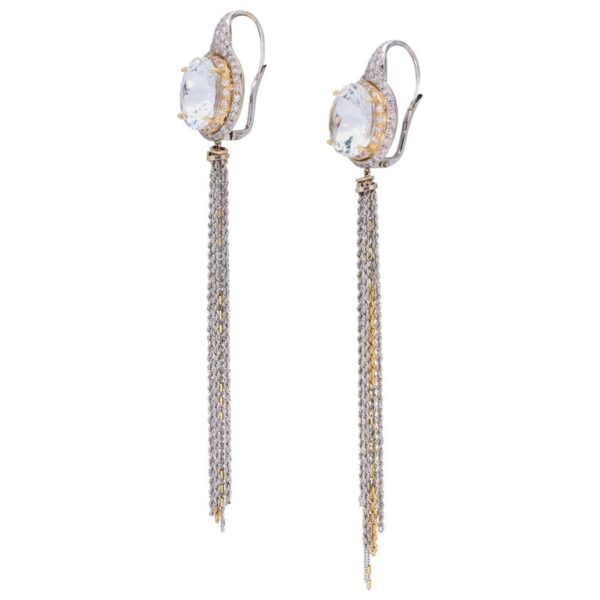 d'Avossa Earrings, 18Kt white and yellow gold with two Round White Natural briolé-cut Topazes on pavè of White Diamonds