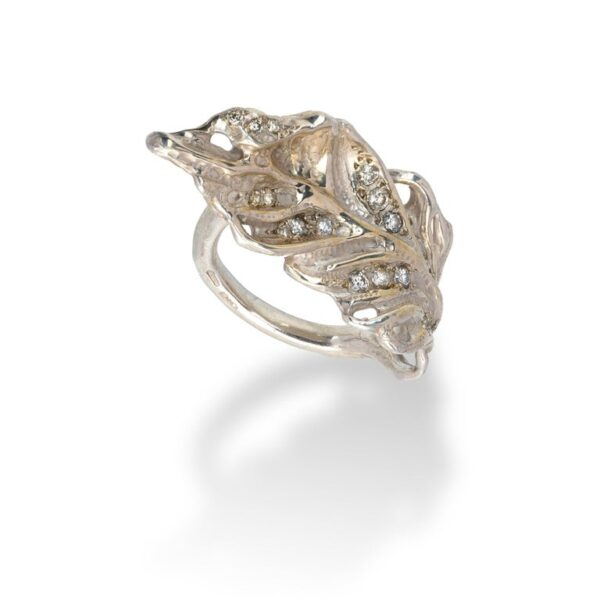 Feather Shaped Ring from d'Avossa Rêves d'Argent Collection, in Silver, with Diamonds (3)