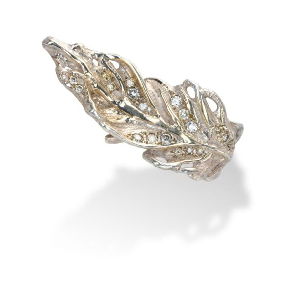 Feather Shaped Ring from d'Avossa Rêves d'Argent Collection, in Silver, with Diamonds (4)