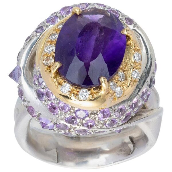 Ring from d'Avossa Rêves d'Argent Collection, in Silver, with Amethyst, Diamonds, Sapphires