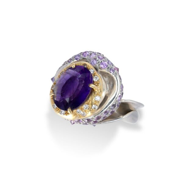 Ring from d'Avossa Rêves d'Argent Collection, in Silver, with Amethyst, Diamonds, Sapphires (6)
