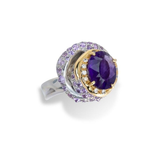 Ring from d'Avossa Rêves d'Argent Collection, in Silver, with Amethyst, Diamonds, Sapphires (2)