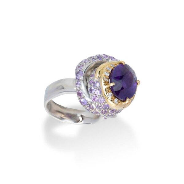 Ring from d'Avossa Rêves d'Argent Collection, in Silver, with Amethyst, Diamonds, Sapphires (3)
