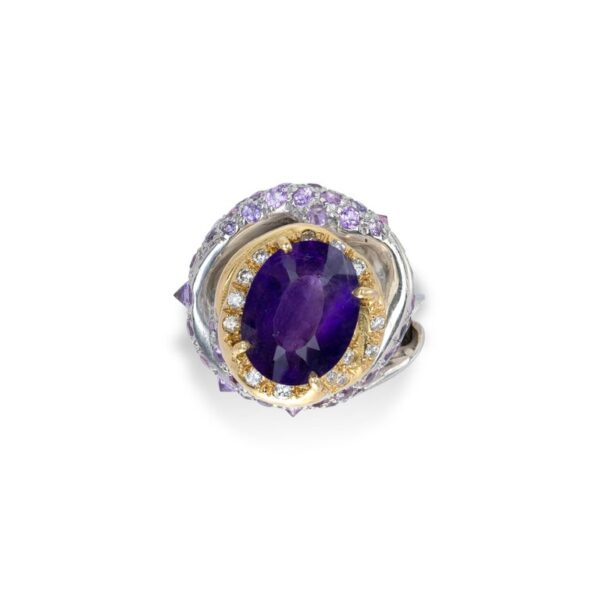 Ring from d'Avossa Rêves d'Argent Collection, in Silver, with Amethyst, Diamonds, Sapphires (5)