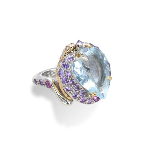 Ring from d'Avossa Rêves d'Argent Collection, in Silver, with Blue Topaz, Diamonds, Sapphires (8)