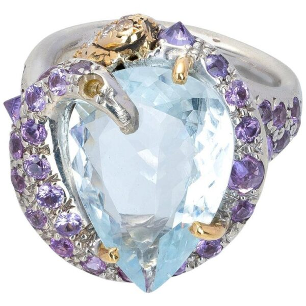 Ring from d'Avossa Rêves d'Argent Collection, in Silver, with Blue Topaz, Diamonds, Sapphires