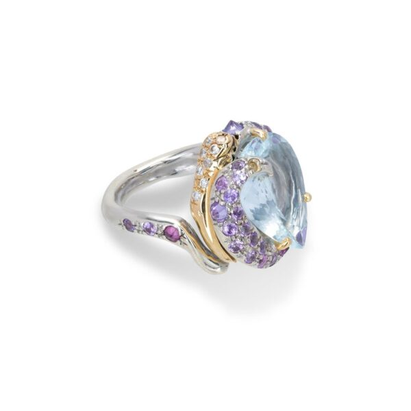 Ring from d'Avossa Rêves d'Argent Collection, in Silver, with Blue Topaz, Diamonds, Sapphires(4)