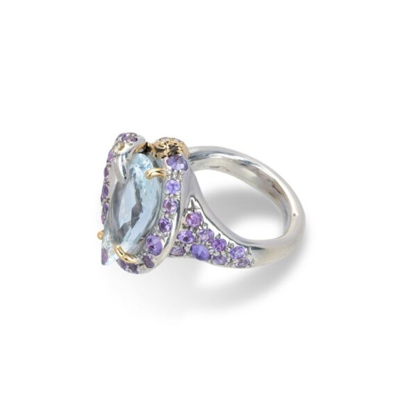 Ring from d'Avossa Rêves d'Argent Collection, in Silver, with Blue Topaz, Diamonds, Sapphires (5)