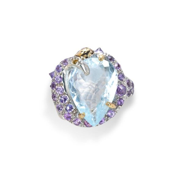 Ring from d'Avossa Rêves d'Argent Collection, in Silver, with Blue Topaz, Diamonds, Sapphires (6)