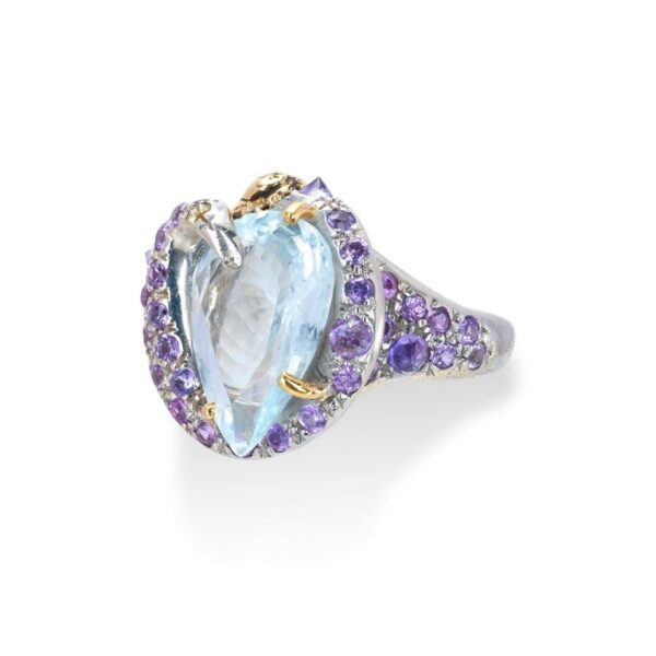 Ring from d'Avossa Rêves d'Argent Collection, in Silver, with Blue Topaz, Diamonds, Sapphires (7)