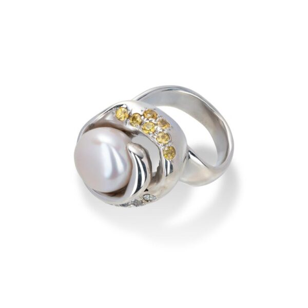 d'Avossa Ring from Rêves d'Argent Collection, in Silver, with Natural Pearl, Yellow and white Sapphires (3)