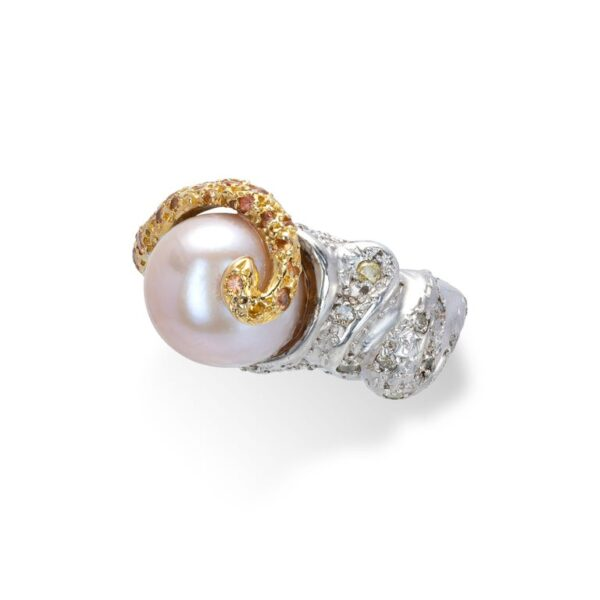d'Avossa Ring from Rêves d'Argent Collection in Silver with Natural Pearl and Sapphires (5)