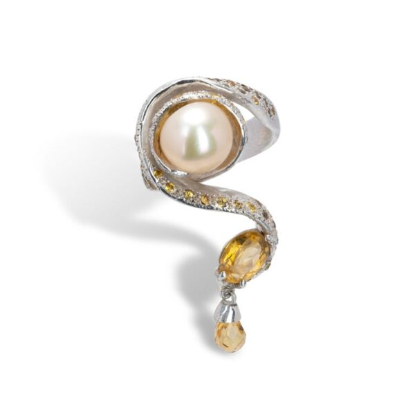 d'Avossa Ring from Rêves d'Argent Collection, in Silver, with Pearl, Sapphires and Topazes (7)