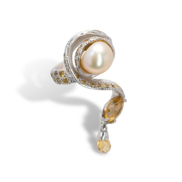 d'Avossa Ring from Rêves d'Argent Collection, in Silver, with Pearl, Sapphires and Topazes (2)