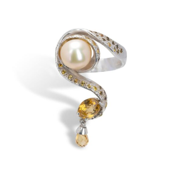 d'Avossa Ring from Rêves d'Argent Collection, in Silver, with Pearl, Sapphires and Topazes (3)