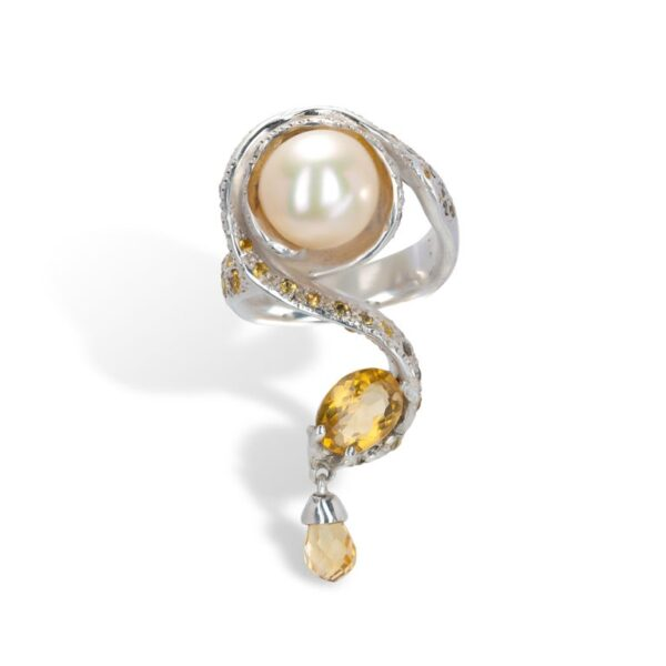 d'Avossa Ring from Rêves d'Argent Collection, in Silver, with Pearl, Sapphires and Topazes
