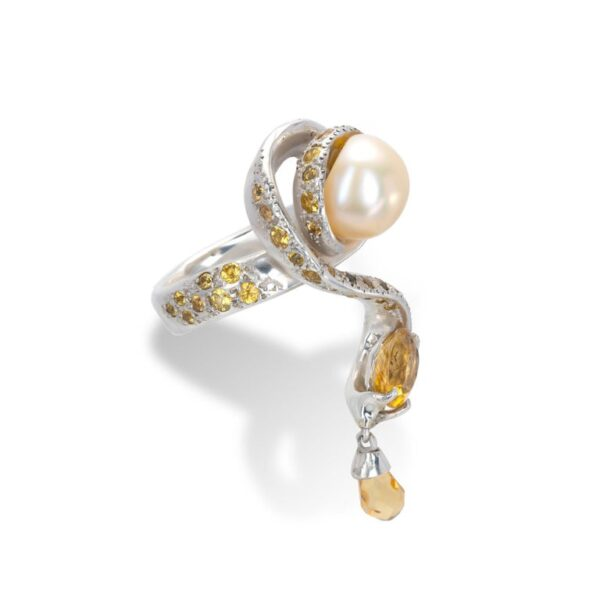 d'Avossa Ring from Rêves d'Argent Collection, in Silver, with Pearl, Sapphires and Topazes (5)