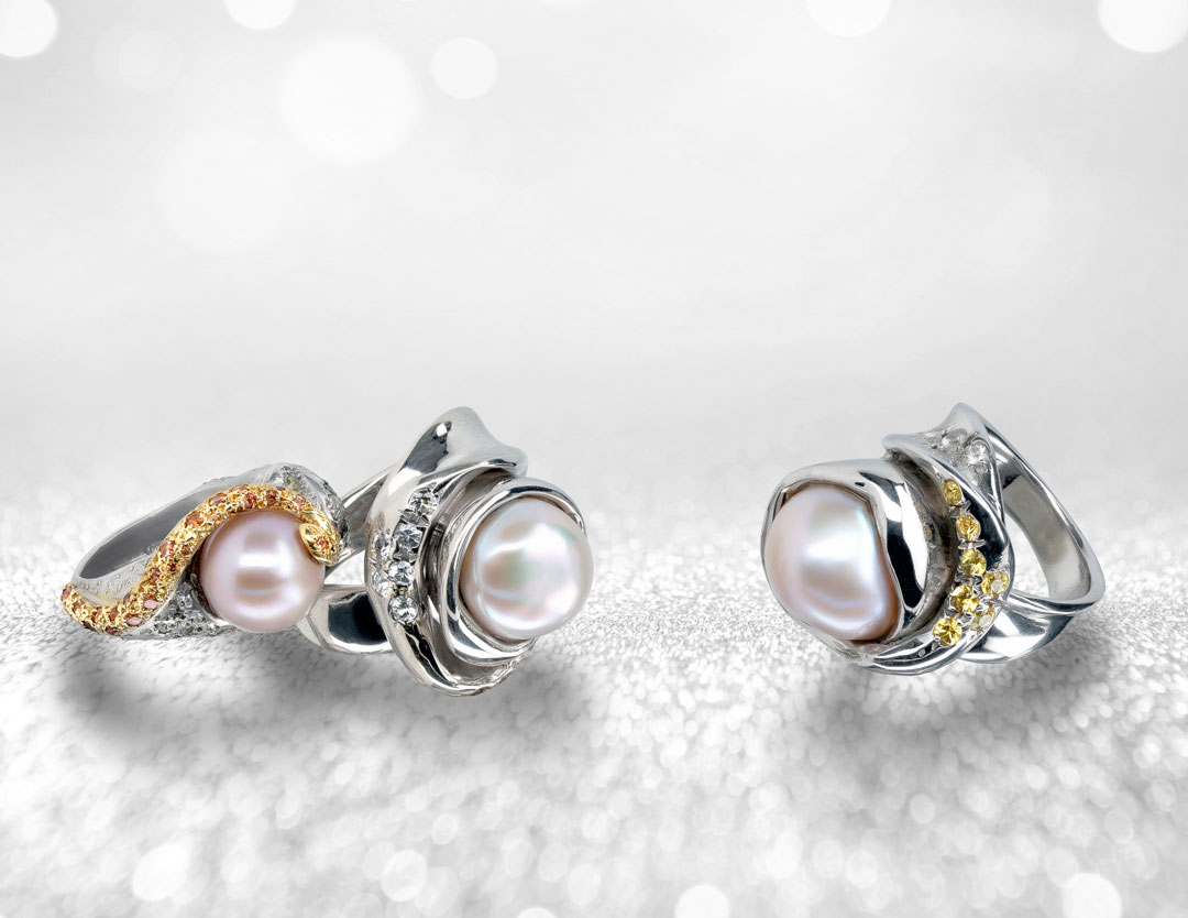 d'Avossa Rings from Rêves d'Argent Collection with Natural Pearls, Ice Diamonds, Apricot and yellow Sapphires