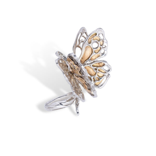 d'Avossa Butterfly Ring in Silver and Yellow Gold with Fancy Diamond