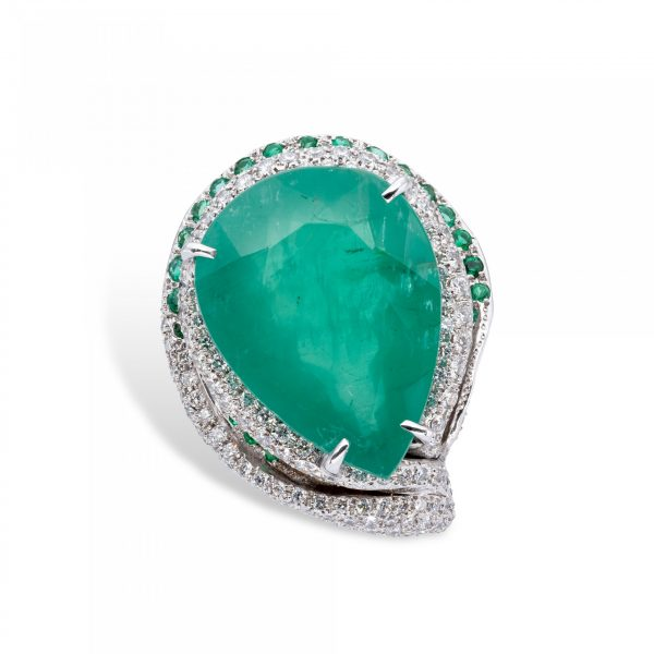 Colombian Emeralds and white Diamonds Ring - d'Avossa Jewels